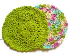 Pretty Pastel Dish Cloth Set  FREE SCRUBBY by ACCrochet on Etsy, $8.00