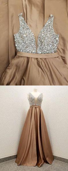 Sexy Sleeveless Prom Dress, Beaded V Neck Prom