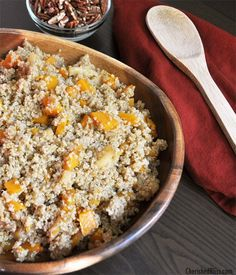 Caramelized Apple Salad with Butternut Squash -- a healthy, delicious quinoa salad with crunch!
