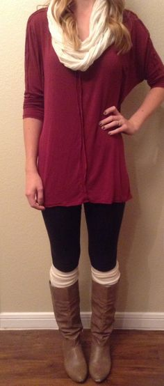 Fall outfit. Cut the ends off the arms of old sweaters to create comfy fake leg warmers and scarf!