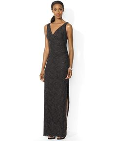 Lauren Ralph Lauren Sleeveless Sequined Lace Gown - Dresses - Women - Macy's
