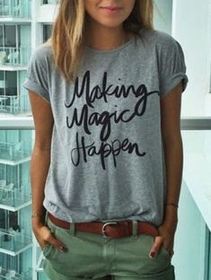 "Plain Grey T Shirt ""Making Magic Happen"" Trendy Grey T-Shirt with Khaki Shorts. Catch phrase tee. Outfits with plain tees and shorts. Size Available :S,M,L,XL Length(cm) :S:61cm,M:62cm,L:63cm,XL:64cm"