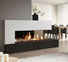 Modern fireplace, b&w