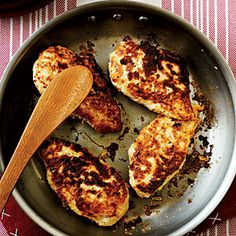 Marinating chicken breasts for four hours in a classic combination of buttermilk, egg, onion powder, and a hint of red pepper yields tender, flavorful results. We sauté the chicken just before baking to give it a perfectly crispy crust.