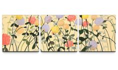 Garden Social 24 x 72 Textured Canvas Print Triptych - Canvas Prints at Hayneedle