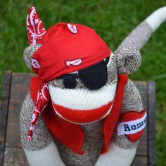Pirate Sock Monkey Doll with Personalized Tattoo by MarysMonkeys. @marysmonkeys.com