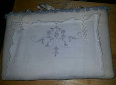 Laptop case - vintage tray cloth, calico, wadding and trimmings