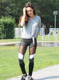 2f196cbaba Mesh Black White Grey Fitness Leggings Mesh Insert Leggings, Wearing All  Black, Women's Leggings
