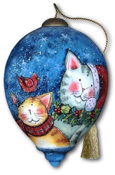 Ne'Qwa Art Hand-Painted Glass Christmas Ornament HOLIDAY CATS by Susan Winget