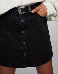 Minifalda botones estampado leopardo - Faldas - Ropa - Mujer - PULL&BEAR España