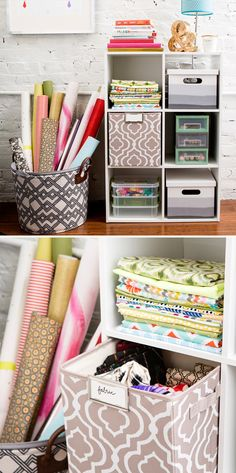 Start with this 6-cube organizer, and then use colored and patterned fabric cubes, along with storage bins from Target as a creative way on how to store and organize your fabric and craft items.