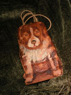 Child's Vintage Hand-Tooled Leather Saint Bernard Purse