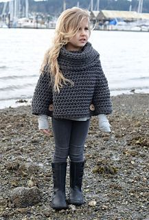 Ravelry: Agate Cape pattern by Heidi May Más Knitting For Kids, Crochet For Kids, Baby Knitting, Crochet Baby, Knit Crochet, Girls Sweaters, Baby Sweaters, Crochet Scarves, Crochet Clothes