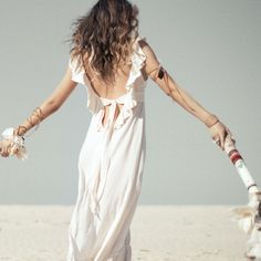 """Spell """"Woodstock Backless Maxi - Creme"""" dress - Dresses - Clothes"""