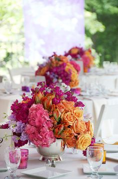 Love hot pink and orange together. Michael George Flowers.