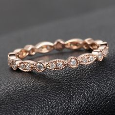 MILGRAIN Bezel .32ctw Diamond Solid 14K Rose Gold Wedding Eternity Band Ring