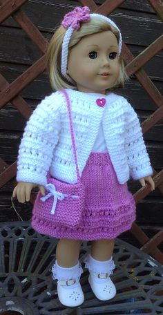 Ravelry: Summer Cardigan Set by Jacqueline Gibb girl doll clothes patterns free knit Summer Cardigan Set pattern by Jacqueline Gibb Knitting Dolls Clothes, Ag Doll Clothes, Crochet Doll Clothes, Doll Clothes Patterns, Clothing Patterns, Knitted Doll Patterns, Knitted Dolls, Knitting Patterns, Crochet Patterns