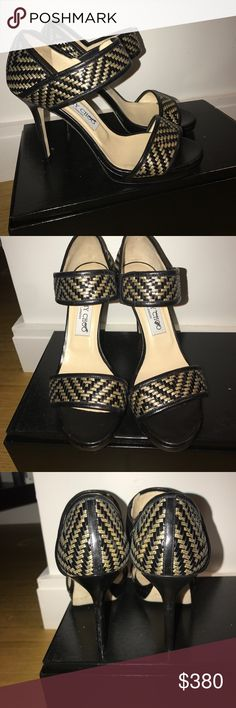 """Gorgeous Jimmy Choo """"Alana"""" woven heels black/gold These ones are amazing! Leather and woven gold thread. Never worn, were just tried on inside couple of times, super comfortable, true to size. No box, no bag, just these beauties.  No lowball offers please💝  4"""" heel with 0.5"""" platform; 3.5"""" equiv. Strap over instep with stretch inset. Piped leather trim. Leather lining and sole. """"Alana"""" is made in Italy. Jimmy Choo Shoes Heels"""