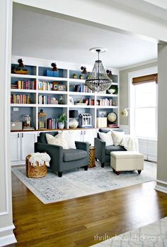 Dining Room turned Library. Hmmm... could see this happening! Maybe game/study space with extra seating. Would flow nicely with game room.