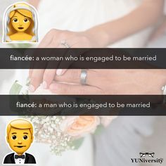 A fiancée is a bride-to-be. Her groom-to-be is her fiancé. They are pronounced the same. (And neither is spelled Feyoncé. Grammar Tips, Grammar Humor, Grammar And Vocabulary, Engaged To Be Married, Fiancee, Test Prep, Communication Skills, Writing Tips, Spelling
