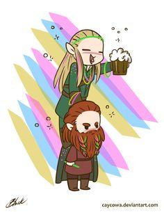 LOTR - Party Legolas and Gimili by caycowa.deviantart.com on @DeviantArt