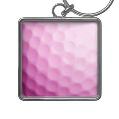 Pink Golf Ball Background Golfing Sports Template Key Chains