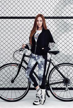 Jessica Jung models sporty street-wear for Li-Ning Girls' Generation Taeyeon, Girls Generation, Taeyeon Jessica, Bicycle Girl, Bike, Fashion Photography Poses, Jessica Jung, Cute Girl Photo, Cosplay