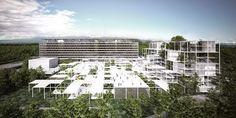 Ginevra, il World Health Organization forma un complesso architettonico incongruo, eretto attorno all'edificio principale, che è stato inaugurato nel 1966