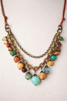 Unique handcrafted antique brass turquoise jasper czech glass layered chain leather multi strand long dangle necklace for women #beading #beadedfun #beadinginspo #cbloggers #beadlove