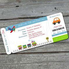 Transportation  Birthday Invitation -  Boarding Pass Invite  - Planes, trains and automobiles, cars, digital file