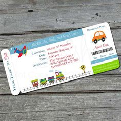 Transportation Birthday Invitation Boarding by SwishPrintables
