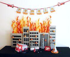 Fireman party Dessert Table Five Alarm Guest Dessert Feature {& Tissue Fire Backdrop Tutorial}