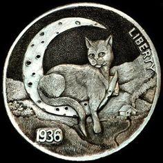 HOWARD THOMAS HOBO NICKEL - LOW HANGING MOON - 1936 BUFFALO NICKEL