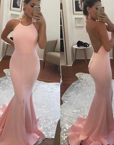 Simple pink mermaid long prom dress, backless pink mermaid evening dress for teens