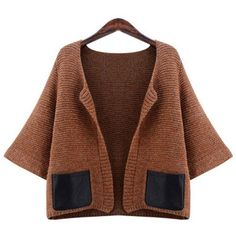 Yoins Plus Size Brown Cardigan-Brown  XL/XXL/3XL/4XL ($37) ❤ liked on Polyvore featuring tops, cardigans, brown, plus size tops knitwear, plus size brown tops, plus size womens cardigans, brown cardigan, plus size brown cardigan and womens plus tops