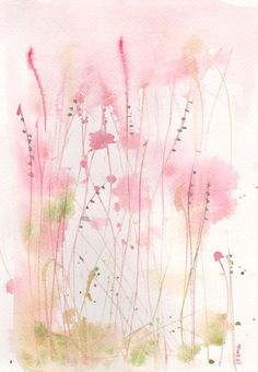 pink watercolour florals