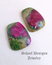 Ruby in Zoisite Calibrated Pair of Cabochons | Jewelry & silversmith supplies | Lapidary designer cabochons specializing in one of a kind and high grade hard to find stones | Schaef Designs Cabochons & Beads | New Mexico