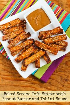 Baked Sesame Tofu Sticks with Peanut Butter and Tahini Sauce found on KalynsKitchen.com