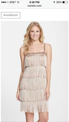 84f4b2a8f65 Aidan Mattox Tiered Fringe Flapper Cocktail Dress available at
