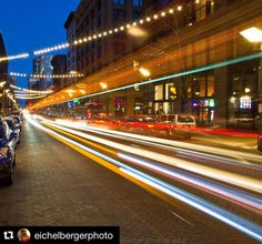#Repost @eichelbergerphoto  My first attempt at shooting light trails. #lighttrails #lights #stl #downtown #city #colors #stlouis #brightlights #art #photography #architecture #fox2now @fox2now