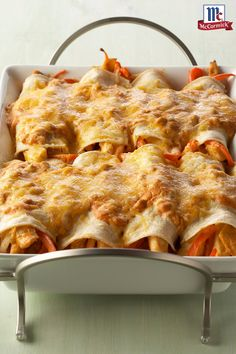 These creamy chicken enchiladas stuffed with onion, bell pepper and green chiles and topped with melted cheese will turn dinner into a Mexican fiesta. Perfect for a Cindo Mayo party.