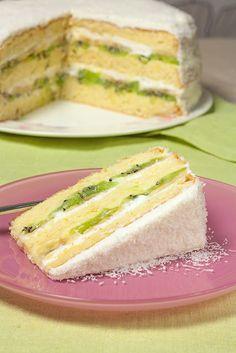 Egzotična torta sa kivijem, bananama, kokos kremom i kiselom pavlakom Jednostavne Torte, Brze Torte, Baking Recipes, Cookie Recipes, Dessert Recipes, Healthy Recipes, Desserts, Torte Recepti, Kolaci I Torte