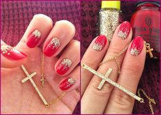 Diy Glitter Gradient Gold Red Nails Christmas Inspired
