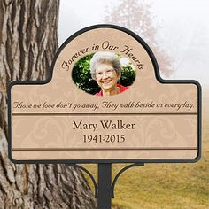 Personalized Memorial Photo Garden Stake - Forever In Our Hearts - Sympathy Gifts