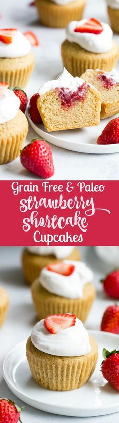 These Strawberry Shortcake Cupcakes start with a perfect paleo vanilla cupcake, filled with honey sweetened strawberry preserves and topped with thick and creamy coconut whipped cream. They're gluten free, dairy free, kid approved, fun to make, and perfect for any special occasion or holiday!