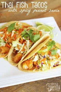 Thai Fish Tacos with Spicy Peanut Sauce Recipe Peanut Sauce Recipe, Spicy Peanut Sauce, Peanut Recipes, Fish Recipes, Seafood Recipes, Asian Recipes, Mexican Food Recipes, Cooking Recipes, Ethnic Recipes