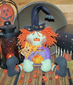 Primitive Raggedy Halloween Witch Doll by PrimitivelyPrecious, $11.95