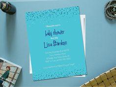 Printable boy baby shower invitation / blue baby shower invitation / confetti baby shower invite / baby boy shower invitation by PrettyPrintablesInk