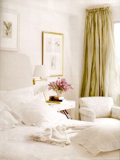 a white bedroom with sheer green curtains Green And White Bedroom, White Rooms, Dream Bedroom, Home Bedroom, Bedroom Decor, Pretty Bedroom, Bedroom Ideas, Airy Bedroom, Serene Bedroom