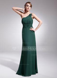 A-Line/Princess+One-Shoulder+Floor-Length+Chiffon+Evening+Dress+With+Ruffle+(017014567)